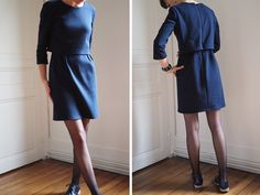 Ma robe La Parisienne de Louis Antoinette Paris - Like A Bobo Style Preppy, Dresses For Work, Dresses With Sleeves, Sewing Patterns, High Neck Dress, Shirt Dress, Long Sleeve, Shirts, Clothes