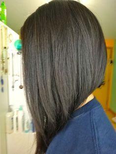 Long & Asymmetrical Long Asymmetrical Haircut, Long Angled Bob Hairstyles, Inverted Bob Hairstyles, Black Hairstyles, Long Inverted Bob, Stacked Hairstyles, Curly Haircuts, Layered Haircuts, Celebrity Hairstyles