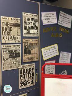 "Amazing Harry Potter Classroom | Create Dream Explore Love the ""Advice from Albus"" bulletin board!"