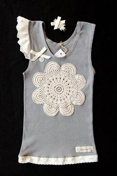 Babies Girls Ladies Genevieve Grey Singlet with Doilies Lace Headband or Clip - by on madeit Diy Kleidung, Lace Headbands, T Shirt Diy, Diy Clothing, Baby Sewing, Crochet Clothes, Diy Fashion, Girl Outfits, Refashioning