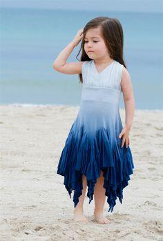 Pixie Girl Clothing - Windy Day Dip Dye Dress in Blue