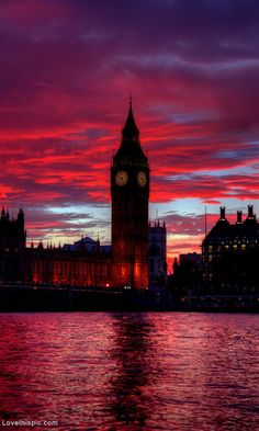 Red sunset over Big Ben.. London #LIFECommunity #Favorites From Pin Board #33