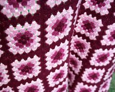 Colorful Granny Square Crocheted Afghan Pinks Mauve by MysticLily