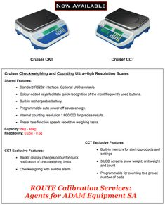 Ultra-High Resolution Cruiser Scales now available. ROUTE are agents/Dealer for Adam Equipment 🇿🇦 Contact and JHB Weighing Scale, Save Energy, Scale, Libra