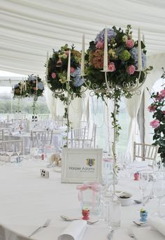 Candelabra arrangements - baby pink and blue - Heaven roses - hydrangea - viburnum #weddings