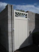 7 1/2 ft high sunburst-top privacy gate