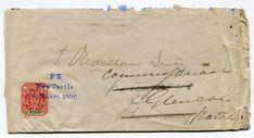 1900 to Johannesburg redirected Glencoe franked adhesive tied three line 'PK- Newcastle- 1900