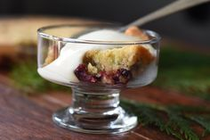Warm Cranberry-Nut Pudding with Vanilla Cream - the Homestead at Bridle Creek