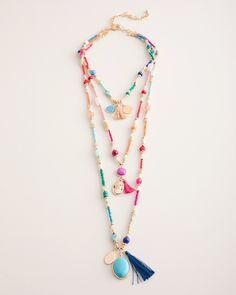 4288be053bb4e8 Chico's Women's Multi-Colored Seed Bead Multi-Pendant Necklace Pendant  Design, Jewelry Show