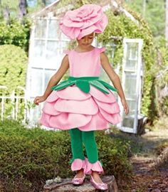 rose costume with pink dress green belt and leggings and buying or DIYing a flower headband. Costume Fleur, Rose Costume, Flower Costume, Costume Dress, Creative Costumes, Cute Costumes, Baby Costumes, Halloween Costumes For Kids, Toddler Costumes