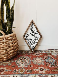 stained frame - chalk paint (black and white) - 20 tall - sawtooth hanger on the back