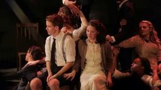 Sandra Mae Frank as Wendla, Austin McKenzie, and the cast of Deaf West's Spring Awakening. Inspiration for Marianne's yellow and green outfit