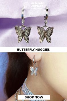 Fly high, Darlings! These adorable butterfly huggies are a must have. Wear them with any outfit to add a touch of fly gal magic to your look. Created with genuine 18k gold and premium stainless steel. 18k Gold, Butterfly, Stainless Steel, Magic, Touch, Detail, Outfit, Earrings, How To Wear