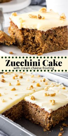 Zucchini cake is a moist, dense, spice cake that's topped with tangy cream cheese frosting. Brown sugar, cinnamon and nutmeg give the cake its delicious flavor - then adding grated zucchini makes the cake have the most irresistible crumb. Zucchini Desserts, Zuchinni Recipes, Banana Zucchini Cake, Zucchini Bread, Cake Cookies, Cupcake Cakes, Cake Icing, Cupcakes, Cheesecake Recipes