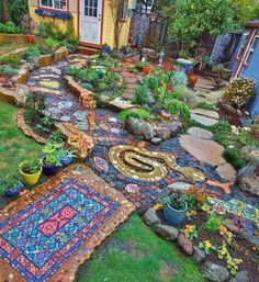 """Stunning Mosaic Garden Milagro Pathway by Carol Bevilacqua.Carol Bevilacqua – Leitender Grafikdesigner / Illustrator - Homecool 57 Stunning Fairy Garden Decor Ideas Source by roundecorcoma lovely garden path would transform your garden, will dir Garden Yard Ideas, Garden Paths, Garden Projects, Easy Garden, Boho Garden Ideas, Gravel Garden, Side Garden, Dream Garden, Garden Inspiration"