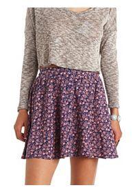 Button-Up Floral Print Skater Skirt