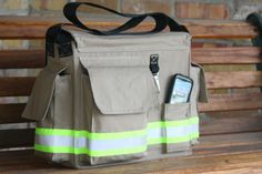 Diaper Bag Personalized and Made to Look Like Firefighter Turnout Gear