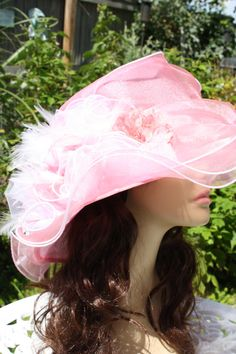 Kentucky Derby Ladies Hat Polyester Pink Coral by TheGlitterboxLC