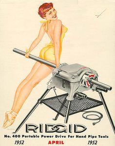 George Petty, Ridgid ad, 1952 sending me spinning