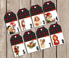 Advent Calendar Vintage Christmas Images - Printable File - PDF on Etsy, 6,15€