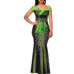 African Cotton Wax Print Clothing Women Long Mermaid Bazin Dress Vestidos