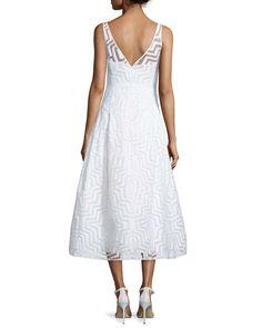 Olivia Sleeveless Fil Coupe Illusion Dress