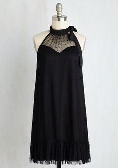 Essence of Decadence Dress - Black, Solid, Party, Cocktail, LBD, Shift, Sleeveless, Woven, Tulle, Good, Short