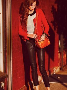 karlie kloss for free people #red #leather