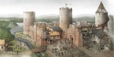 Cutaway illustration of a Medieval castle by Claudia Saraceni