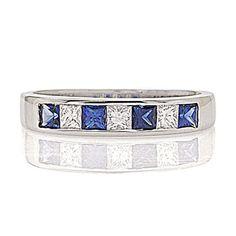 princess cut sapphire and diamond channel band