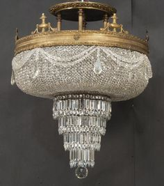 Antique Bronze Flush Mount Chandelier - Huge Beaded Basket & Tiered from tolw on Ruby Lane