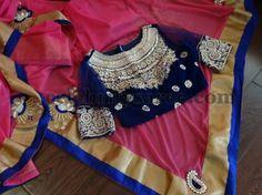 Velvet Blouse Designs in Blue | Saree Blouse Patterns