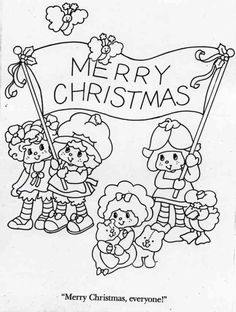 Angel Cake, Strawberry Shortcake, Mint Tulip, Marsh Mallard, Butter Cookie, Jelly Bear, and Custard with a merry Christmas banner. Coloring sheet.