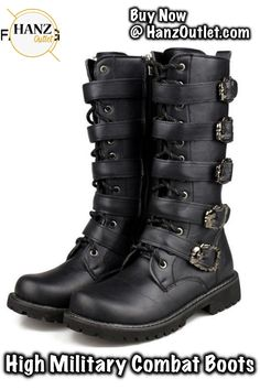 6aec86d0f967 Aleafalling Men Army Boots High Military Combat Boots Metal Buckle Punk  Mid-calf Male Motorcycle Boots Lace Up Men s Shoes Rock