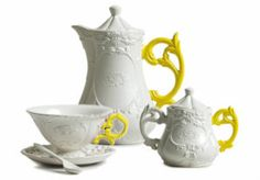 Seletti i-wares tea set in yellow, available from Amara.