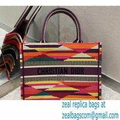 Dior Small Book Tote Bag in Multicolor Embroidery 2021