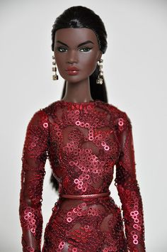 I was waiting for this beautiful gown to arrive to redress her. She is gorgeous! Barbie Dress, Barbie Clothes, Barbie Doll, African American Dolls, She Is Gorgeous, Black Barbie, Barbie And Ken, Custom Dolls, Doll Face