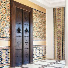 NYCeiling Inc. - News & Articles - Moroccan style in your interior Сontrast combination of blue, ultramarine, emerald-green or turquoise and white. House Main Door Design, Main Entrance Door Design, Wooden Main Door Design, Pooja Room Door Design, Door Design Interior, House Design, Hall Interior, Pooja Rooms, Moroccan Style
