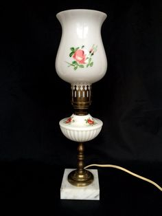 Milk Glass Hurricane Hand Painted Pink Roses Electric Dresser Desk Table Lamp  #Cottage #Unknown