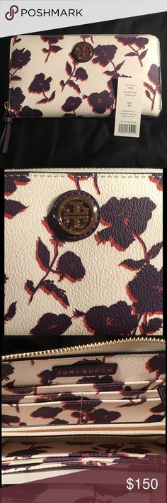 TB Kerrington Zip Cont *12/13-only $130*Price Firm NWOT, flowers are dark purple and orange, and the wallet is a cream color. Beautiful wallet with one zippered pocket in the middle and many slots for cards on each side. *Open to offers* 😀 Tory Burch Bags Wallets