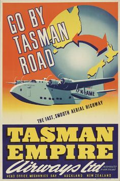 This advertising poster shows a flying boat, the ZK-AME, in flight, in front of a globe turned to show the route between Sydney and Auckland. TEAL used the ZK-AME flying boat on the Trans-Tasman route. Poster Ads, Sale Poster, Advertising Poster, Vintage Travel Posters, Vintage Ads, Vintage Advertisements, Vintage Airline, Vintage Prints, Airline Travel