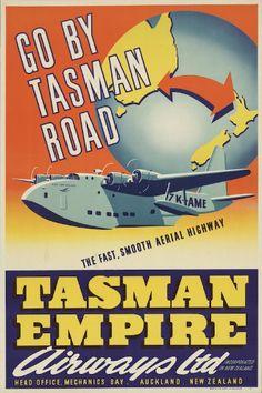 Go by Tasman Road Vintage TEAL Poster for Sale - New Zealand Art Prints