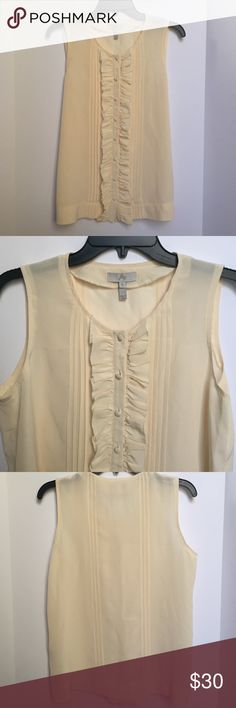 """Joie Ruffle Front Silk Tank Pre-owned. Excellent condition. Size Small. 100% silk. Approx. length 25"""". Joie Tops Blouses"""