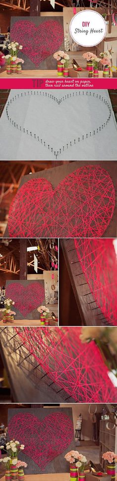 DIY String Heart - 15 Lovey-Dovey DIY Valentine's Day Decorations to Celebrate Love | GleamItUp