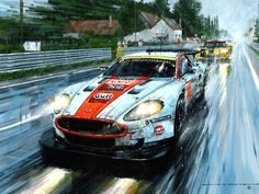 "2008 Le Mans 24 - Gulf sponsored Aston Martin DBR 9 winning its class for the second year running at Le Mans ""Raindancers"" painting by Nicholas Watts. Ford Gt40, Gt Cars, Race Cars, Auto Illustration, Up Auto, Le Mans 24, Car Posters, Automotive Art, Automotive Group"