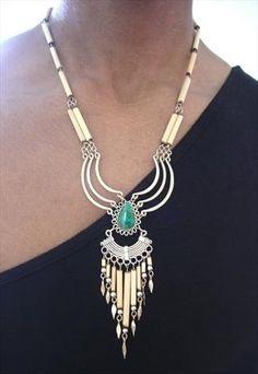 Vintage 80s Aztec Navajo Bamboo Necklace... looooveeeee <3