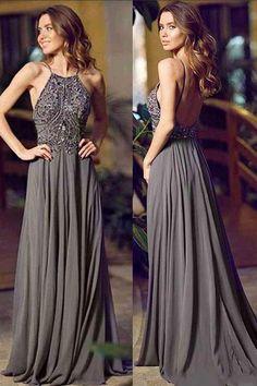 Gray A Line Floor Length Halter Sleeveless Backless Beading Prom Dress,Evening Dress P86