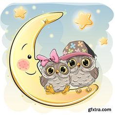 Two cute owls on the moon Royalty Free Vector Image Cartoon Mignon, Cute Owl Cartoon, Moon Vector, Owl Wallpaper, Unicorn Pictures, Photoshop For Photographers, Photoshop Actions, Owl Art, Baby Owls