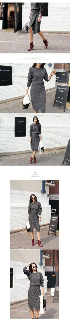 [DHOLIC] ケーブルニットラップミディスカート・全3色
