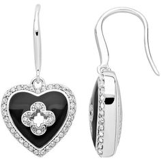 Marie Claire Jewelry Crystal Silver Tone Heart Drop Earrings ($44) ❤ liked on Polyvore featuring jewelry, earrings, black, four leaf clover jewelry, four leaf clover earrings, heart drop earrings, drop earrings and clover earrings